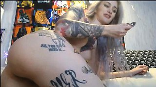 Fully Tattooed EMO Blonde Fuck Pussy With Butt Plug In