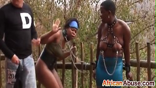 Horny studs tie up that black whore and abuse her hard and roughly