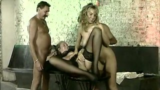 Sexy and wild white hotties having small orgy with two men