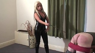 Whipping blonde mistress in latex