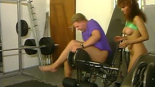 Stunning and lascivious redhead vintage beauty having sex in the gym