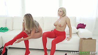 Blond milf is fucking naughty teen in ripped yoga pants Athena Faris