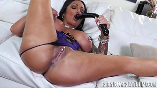 Dirty solo model Ashton Blake poking her ebony pussy and ass