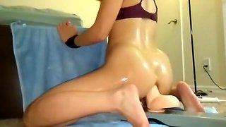Asian Gf Oiled Up And Rides 10in Toy Balls Deep Anally 1a -