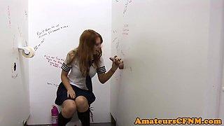 Schoolgirl cutie sucking during CFNM fetish