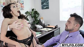 Alexis strips down to serve as new office slave