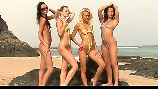 4 babes take off their string bikinis