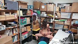 Cute girl Taylor May is punished by perverted man in the back room