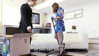 door to door, vacuum salesman gets a latina milf treat