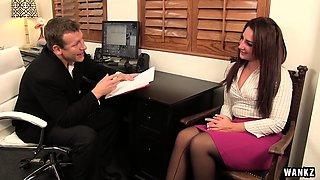 WANKZ- Sexy Savannah Seduces Her New Boss