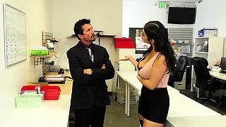 Busty latina employee fucked by new boss