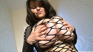 Busty MILF in Black Net Skirt