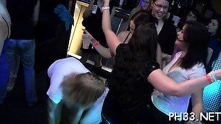 Wild cheeks in club screwed and sucked undress dancers rod