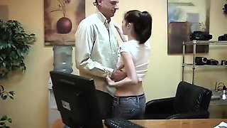 SLIM Brunette at Boss Office