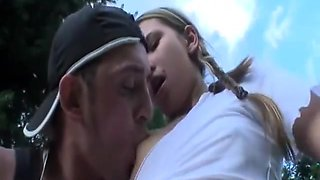 Girl in school uniform outdoor sex