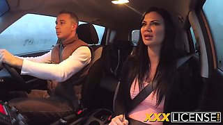 big titted milf jasmine jae fucked hard by two cocks inside the car