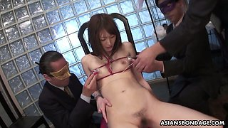 Japanese whore Rina Serizawa is ready for hard bondage and wild masturbation