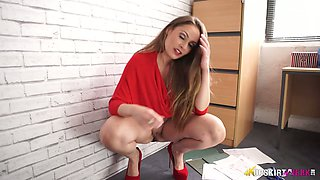 Leggy secretary in short skirt Sophia Delane takes off panties in the office
