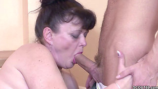 German Virgin Young Guy's First Time Fuck with Granny