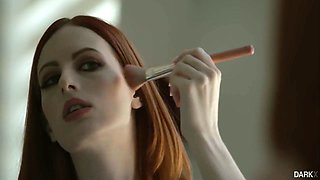Pretty redhead Alex Harper takes DP from two strong black studs