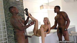 Big black cocks satisfy this skinny blonde girl in every way