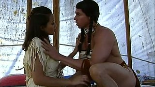 Stunning American Indian babe in the igloo sucking huge dick