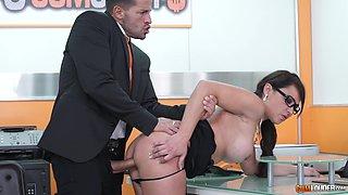 Secretary slut Sara May sucks her clients cock and swallows his cum