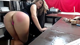 Secretary Maid Squirts on Table at Work