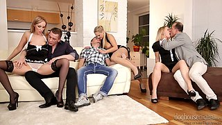 Seductive babe Jenny Simons arranges dirty and hardcore group orgy at home