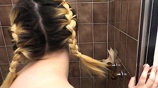 Chubby hairy amateur masturbates after shower