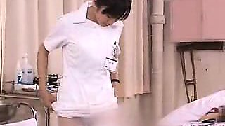 Lustful Japanese nurse with a cute smile rides a patient's