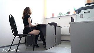 Hidden camera. Jeny Smith flashing the real boss at job interview