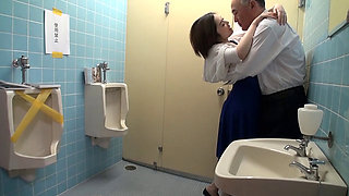 A Horny Japanese Hostess fucked in a Public Toilet