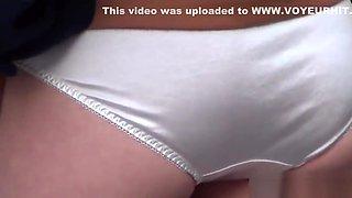 Asian teen shows panties