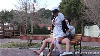 Nurse Sucks Cock Outdoors