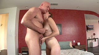 Alluring blonde bitch her shaved cunny polished by a hot bald dude
