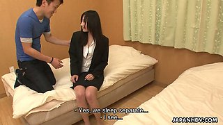 Toy is used by boss to warm up pussy of lusty Japanese secretary