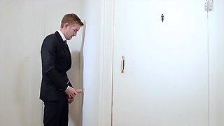 Spanish office slut gobbles fat meat in the toilet
