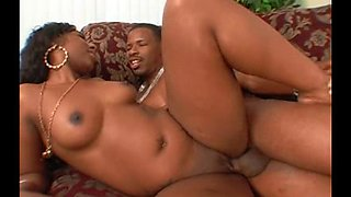 Ebony couple John Q. and India rocking the sofa from hot banging