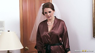 Whore bride Allison Moore is masturbating and sucking dicks before wedding ceremony