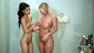 Slender Latina chick Katya Rodriguez gets her pussy teased in the shower