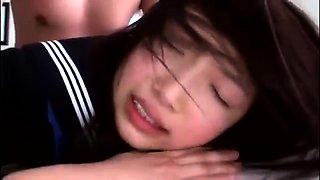 Dazzling Asian schoolgirl in uniform enjoys a hard fucking