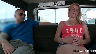 Blondie getting talked into hot sex in bus