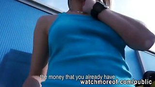 Beautiful Czech girl receives money then rides on cock in