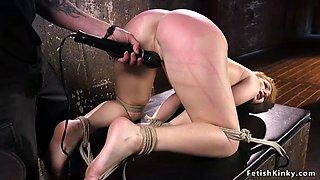 Hot hogtied slave ass paddled