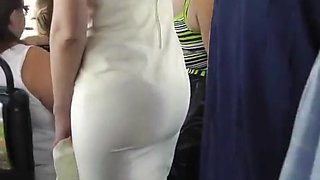 Upskirt Tight White Sheer Thong On Bus