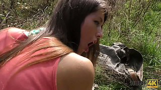 Amateur Czech chick gets her anus fucked in the forest