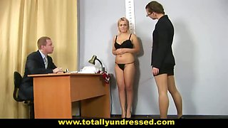 Nude job interview for blonde secretary