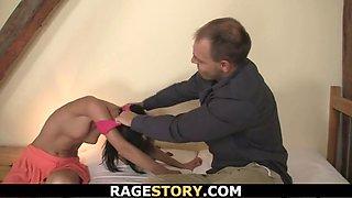 Brunette takes brutal deepthroat and banging