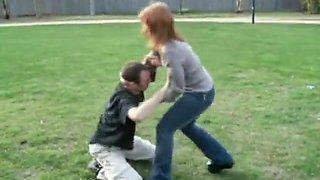 Girlfriend wrestling headscissors